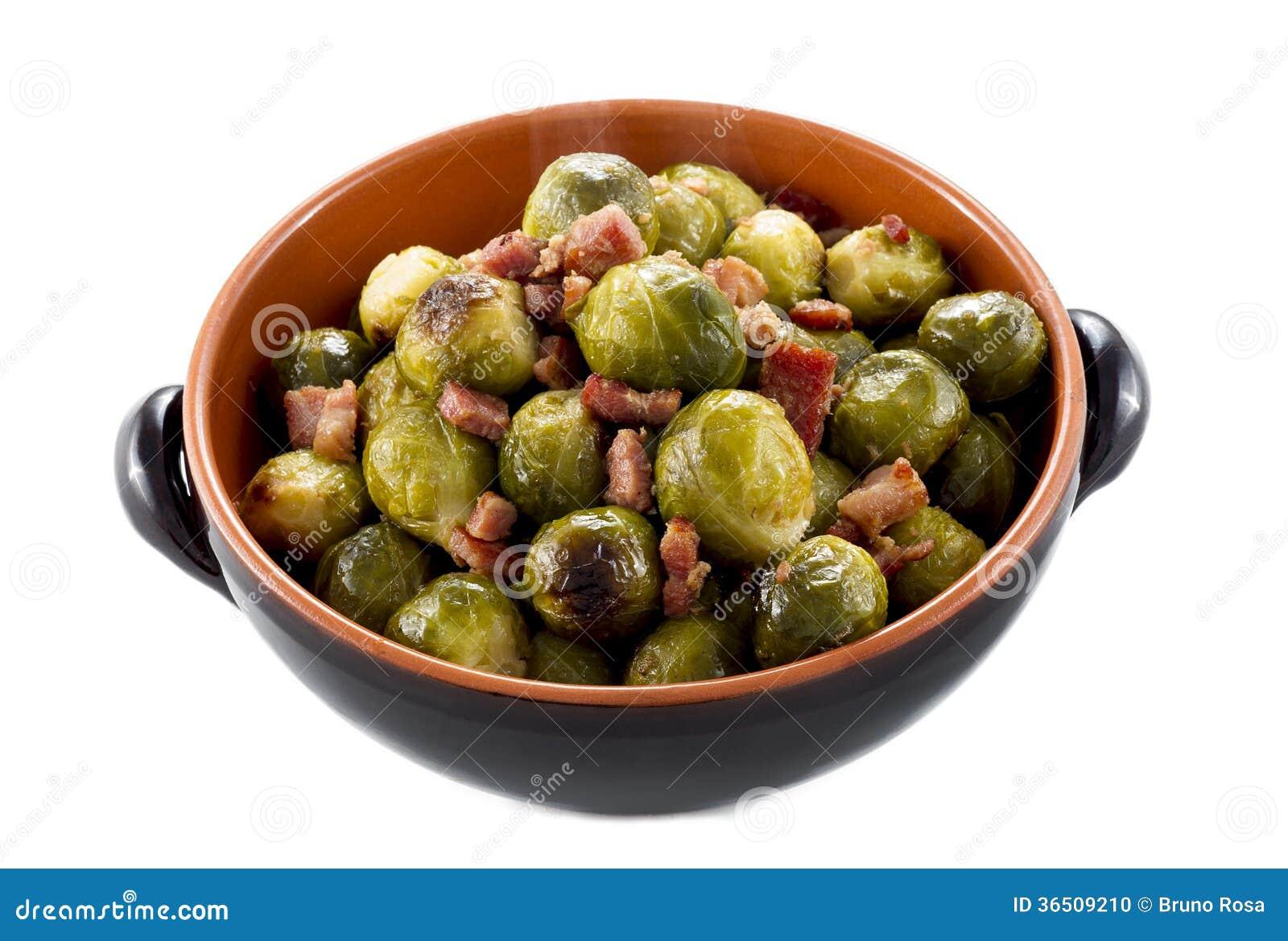 Fried Brussel Sprouts avec du jambon