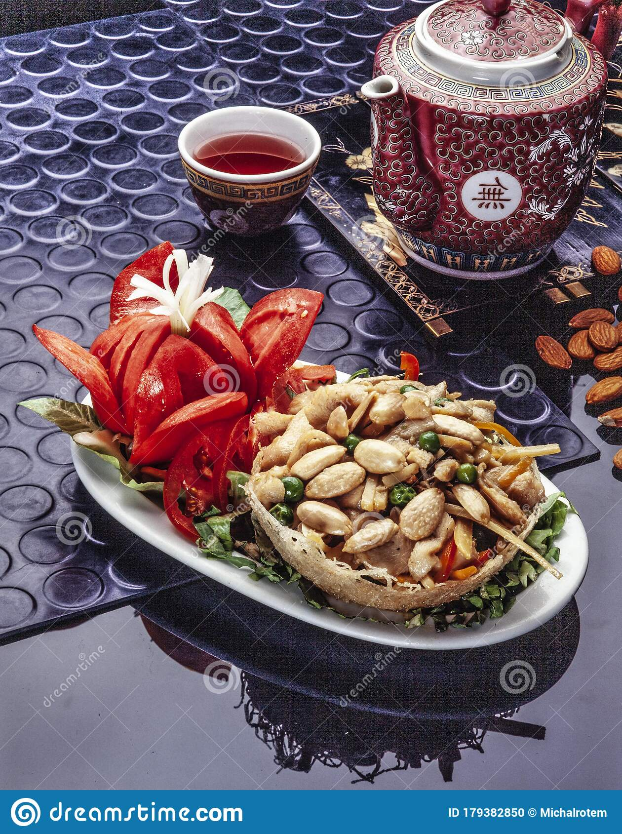 Chinese Food Almond Chicken Red Pepper Jar And Tea Cup Stock Photo Image Of Bare Stomachn 179382850