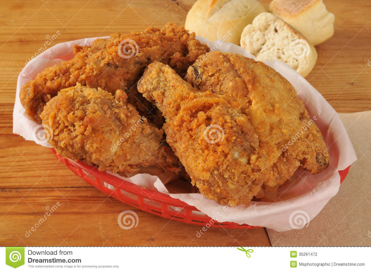 Fried Chicken In A Basket Stock Photography - Image: 35261472