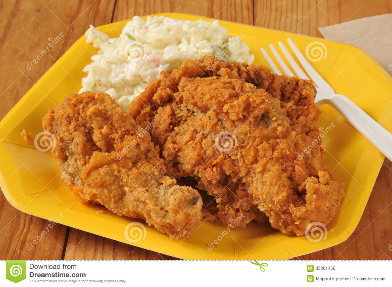 Fried Chicken With Coleslaw Royalty Free Stock Image - Image: 35261456