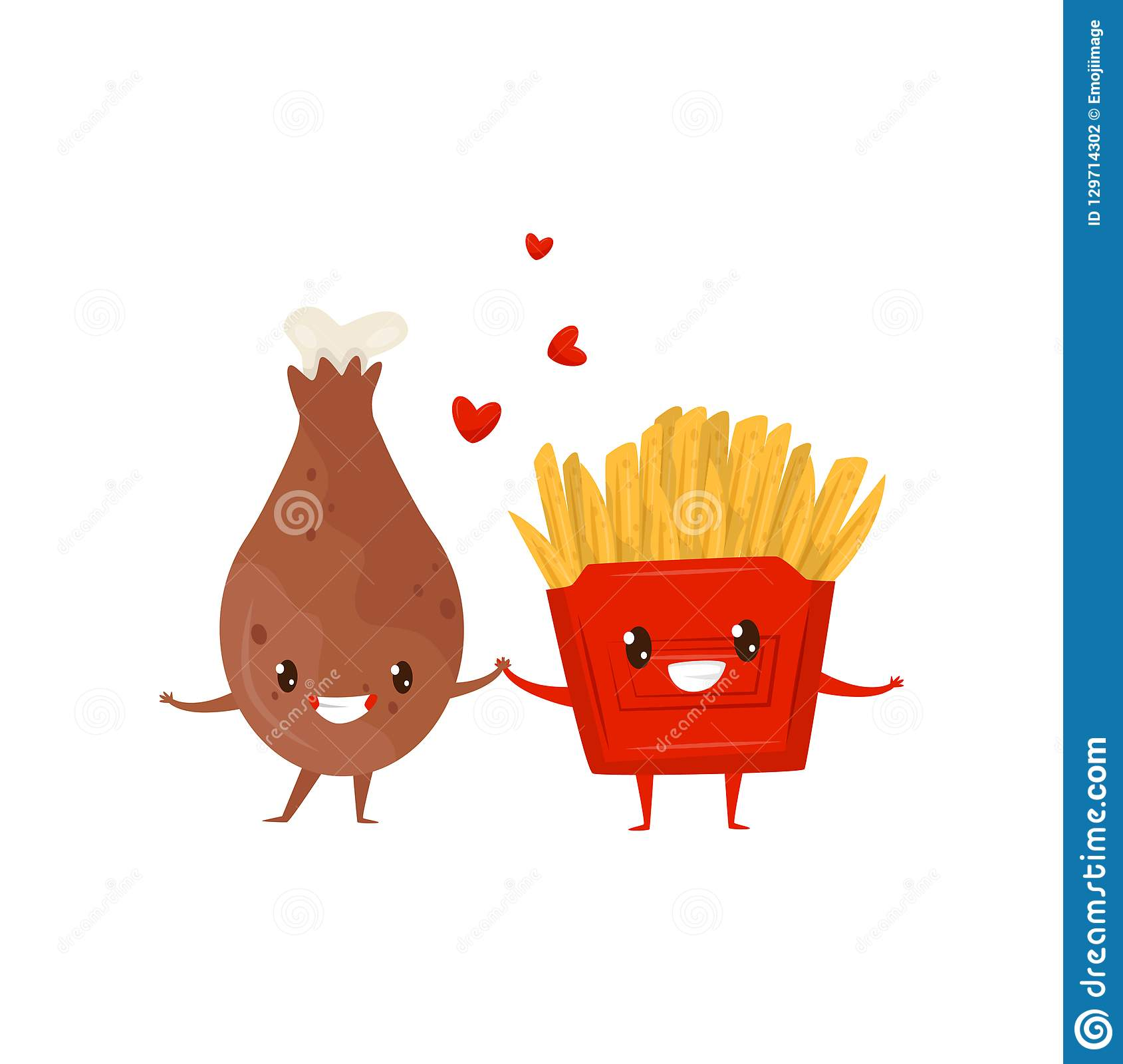 Fried chicken drumstick and french fries are friends forever, fast food menu funny cartoon characters vector