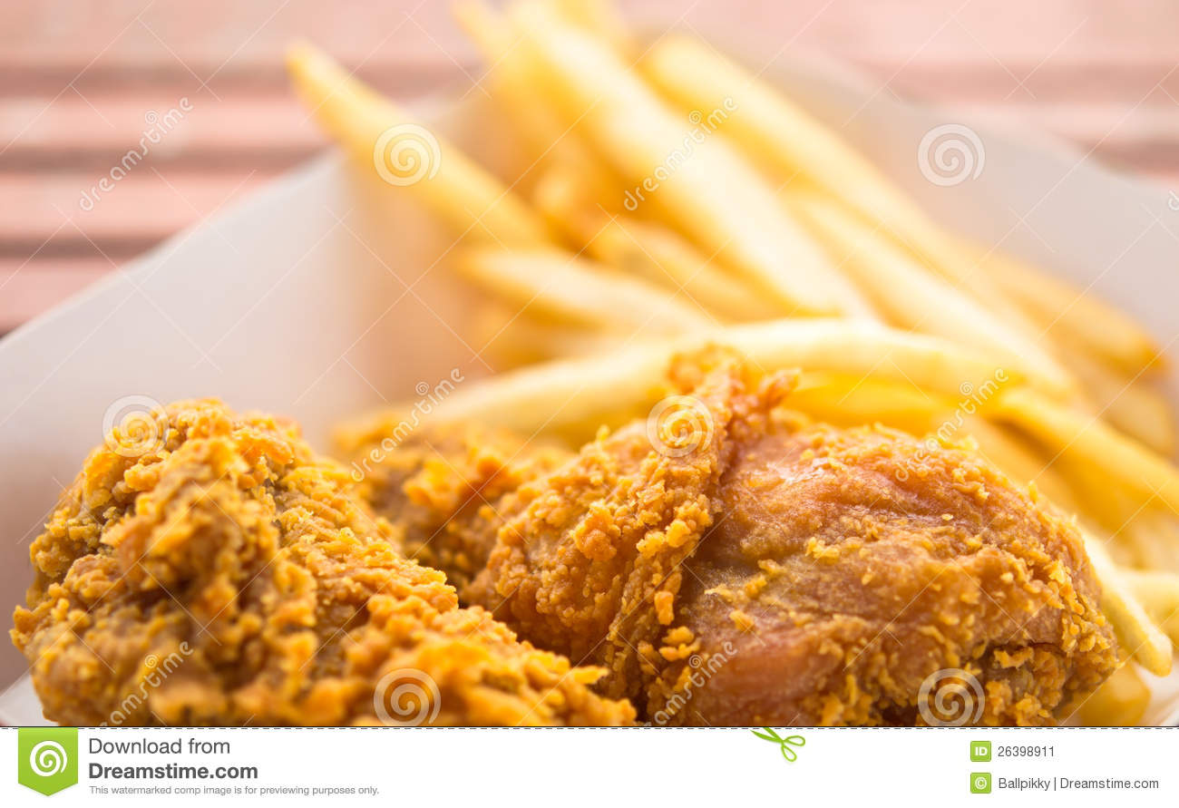 Fried Chicken Amp French Fries Stock Image Image Of Food
