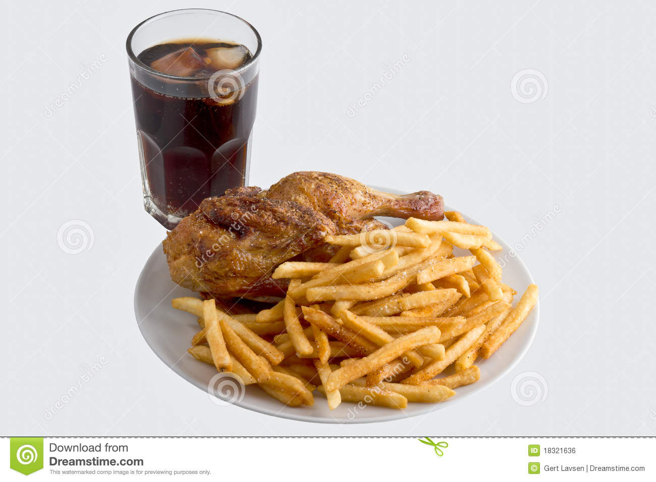 Unhealthy Food Plate Fried Chicken With Fre...