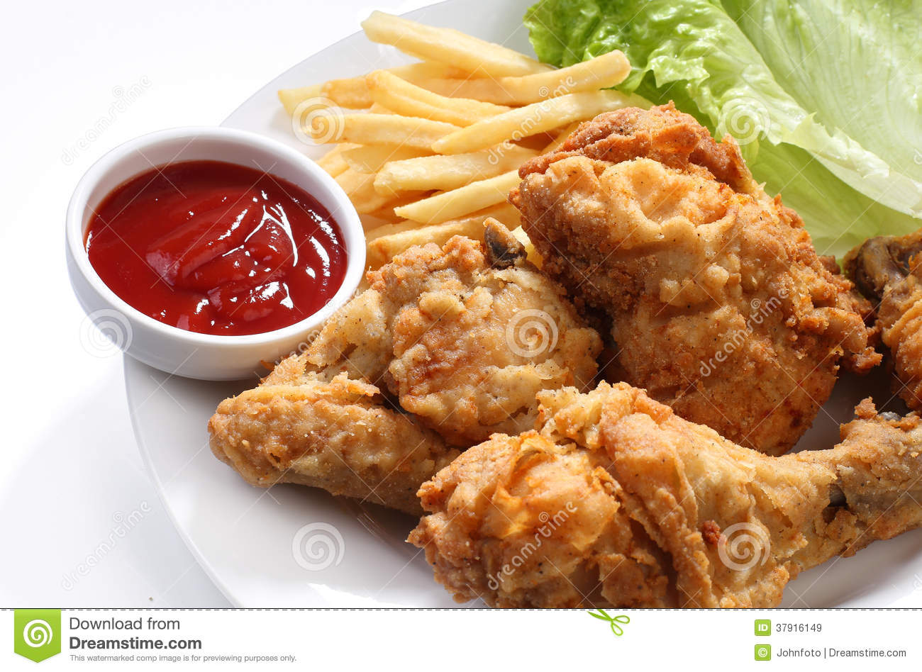 Fried Chicken And Fries With Ketchup Royalty Free Stock Images - Image ...