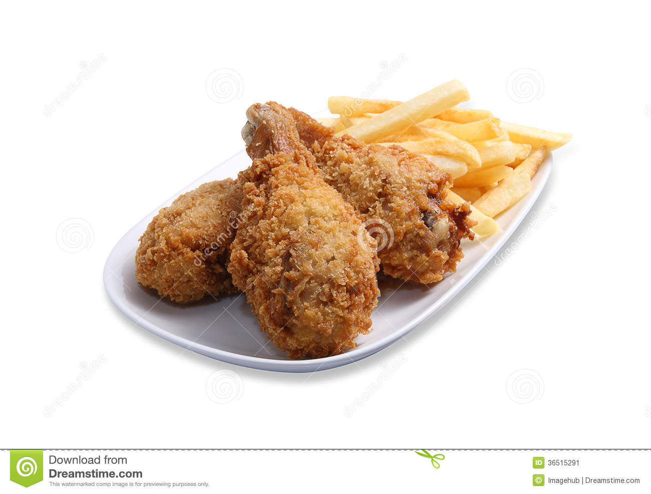 Fried chicken leg with potato chips