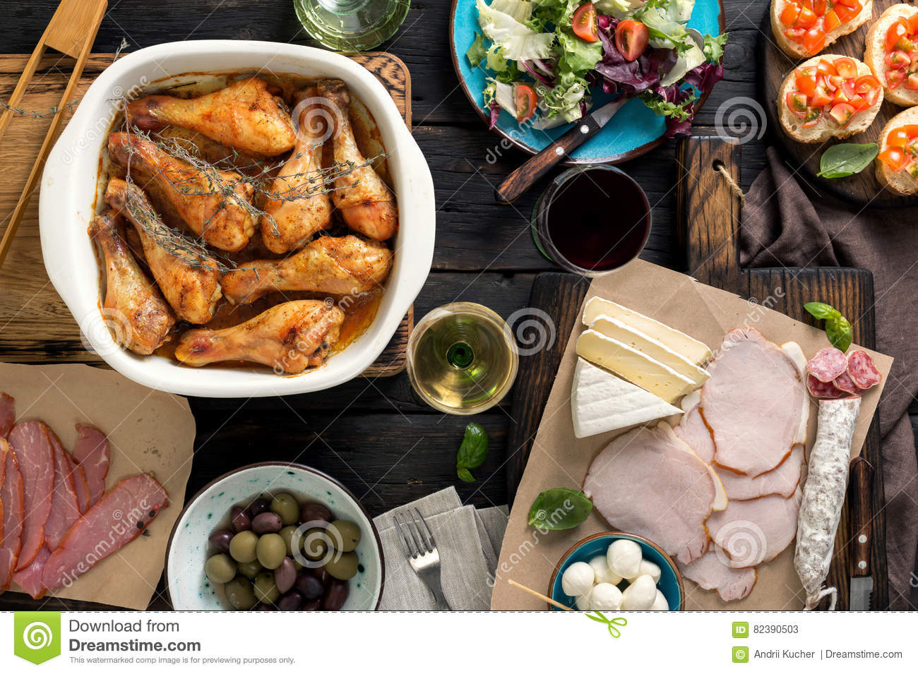 Fried Chicken Legs Snacks White And Red Wine Stock Image Image