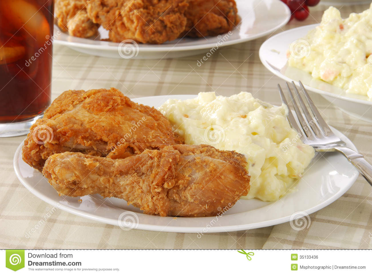 Fried Chicken And Potato Salad Royalty Free Stock Image ...