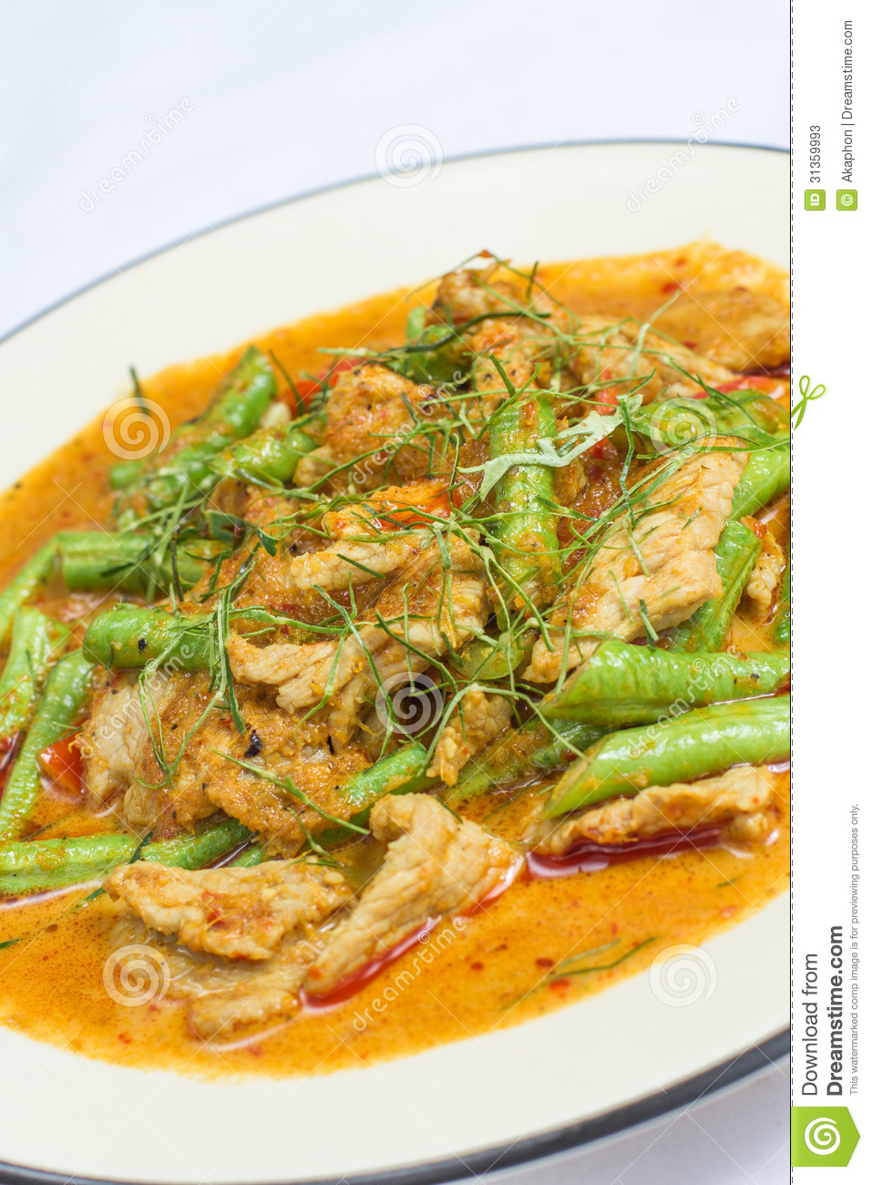fb1949d4 Fried Chicken With Red Curry Stock Image - Image of classic, bean ...