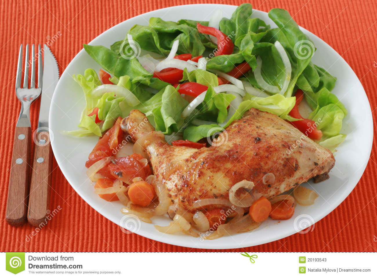 Fried Chicken With Salad Stock Photos - Image: 20193543