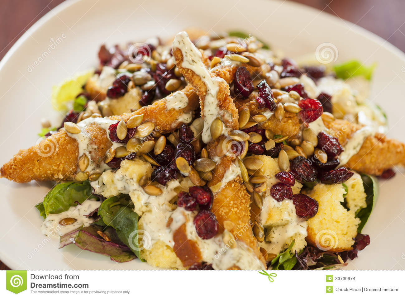 Fried Chicken Salad With Mixed Greens Stock Images Image