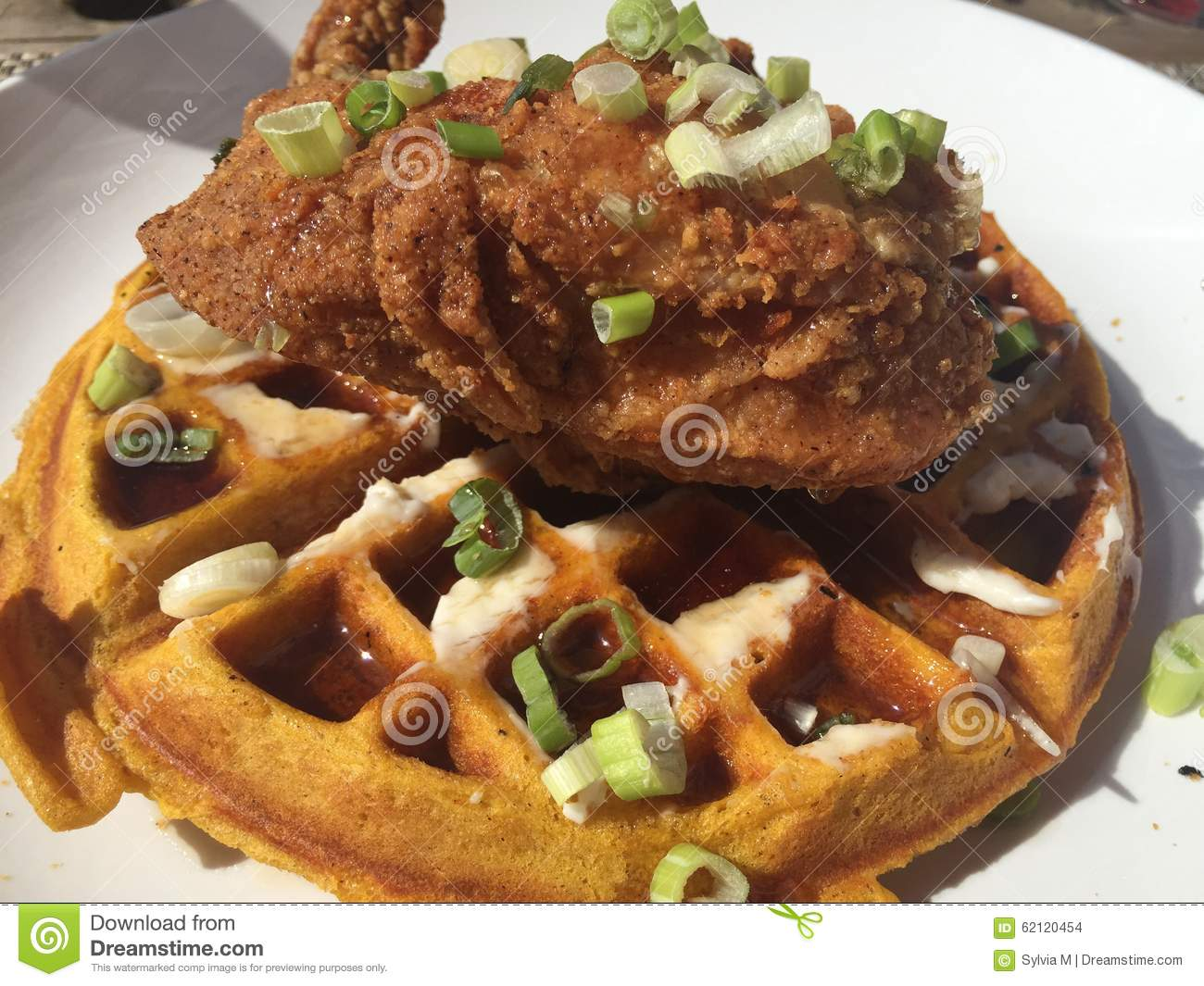 Fried Chicken And Sweet Potato Waffle Stock Photo - Image: 62120454