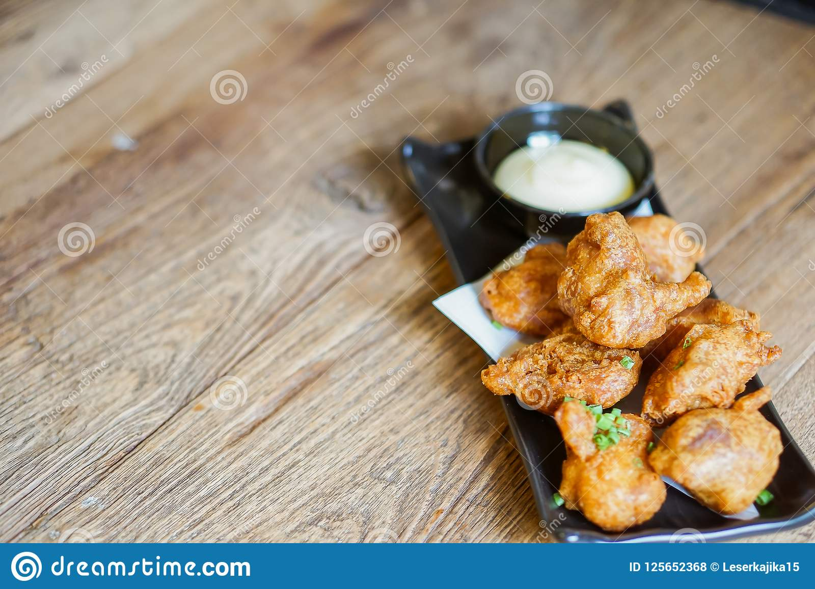 Fried Chicken Teriyaki com molho da maionese