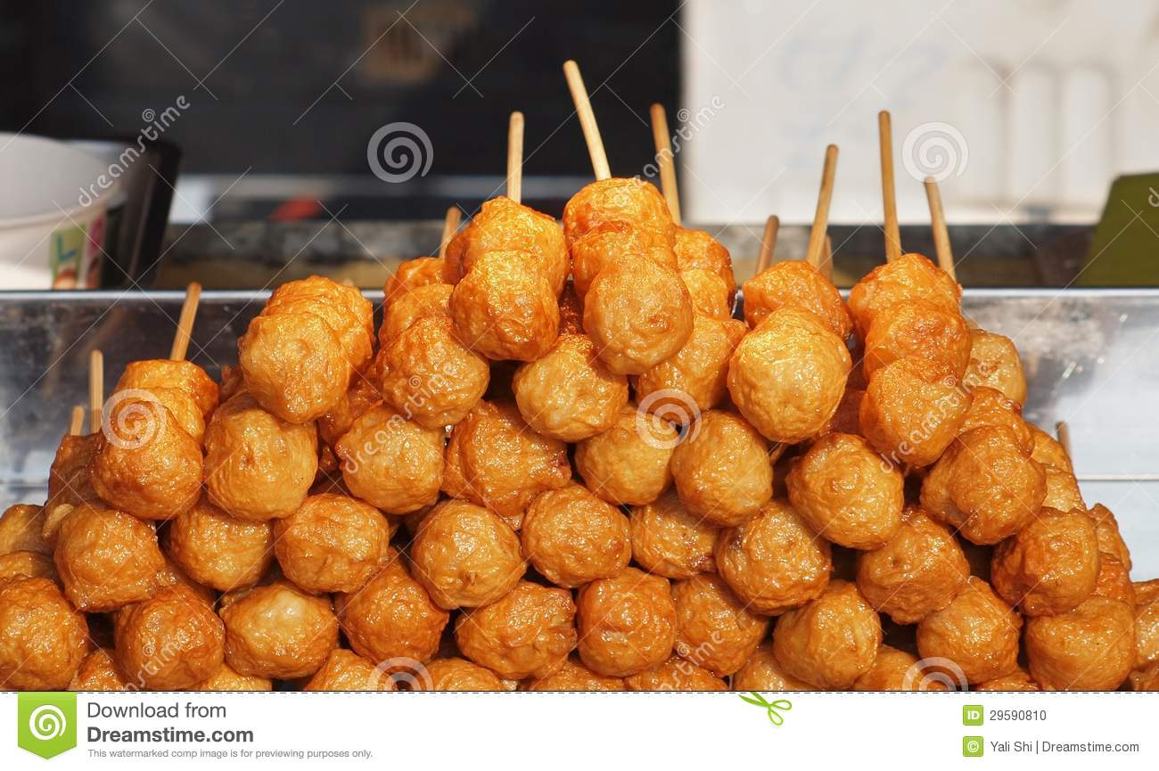 Fried chinese fish balls stock photo image of stack for How to fry fish with flour