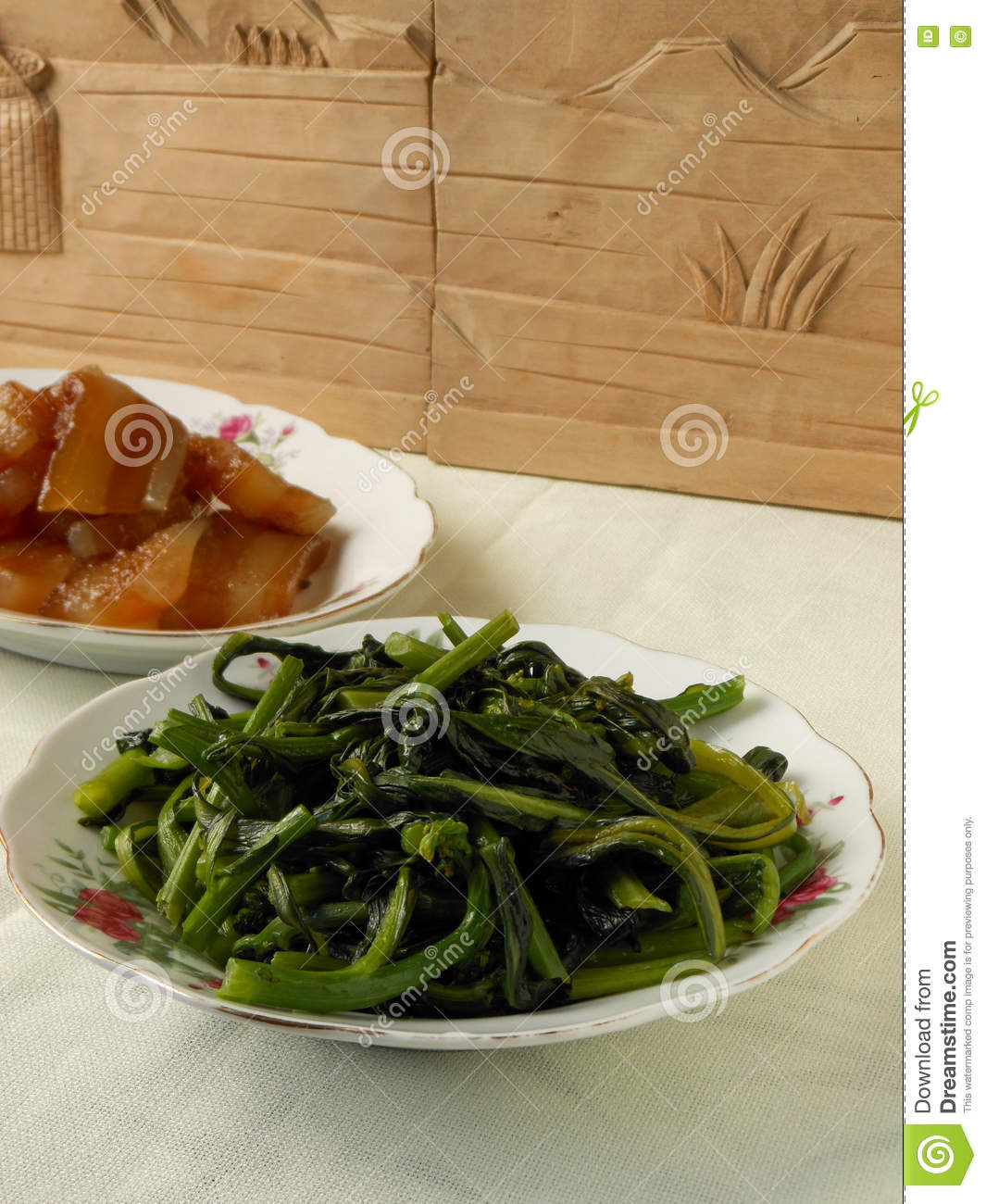 Fried Chinese Flowering Cabbage
