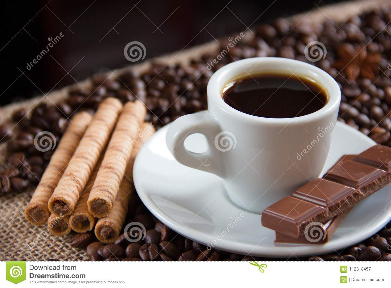 Fried Coffee Grains With Espresso Cup Milk Chocolate And Biscuits Stock Image - Image of ...