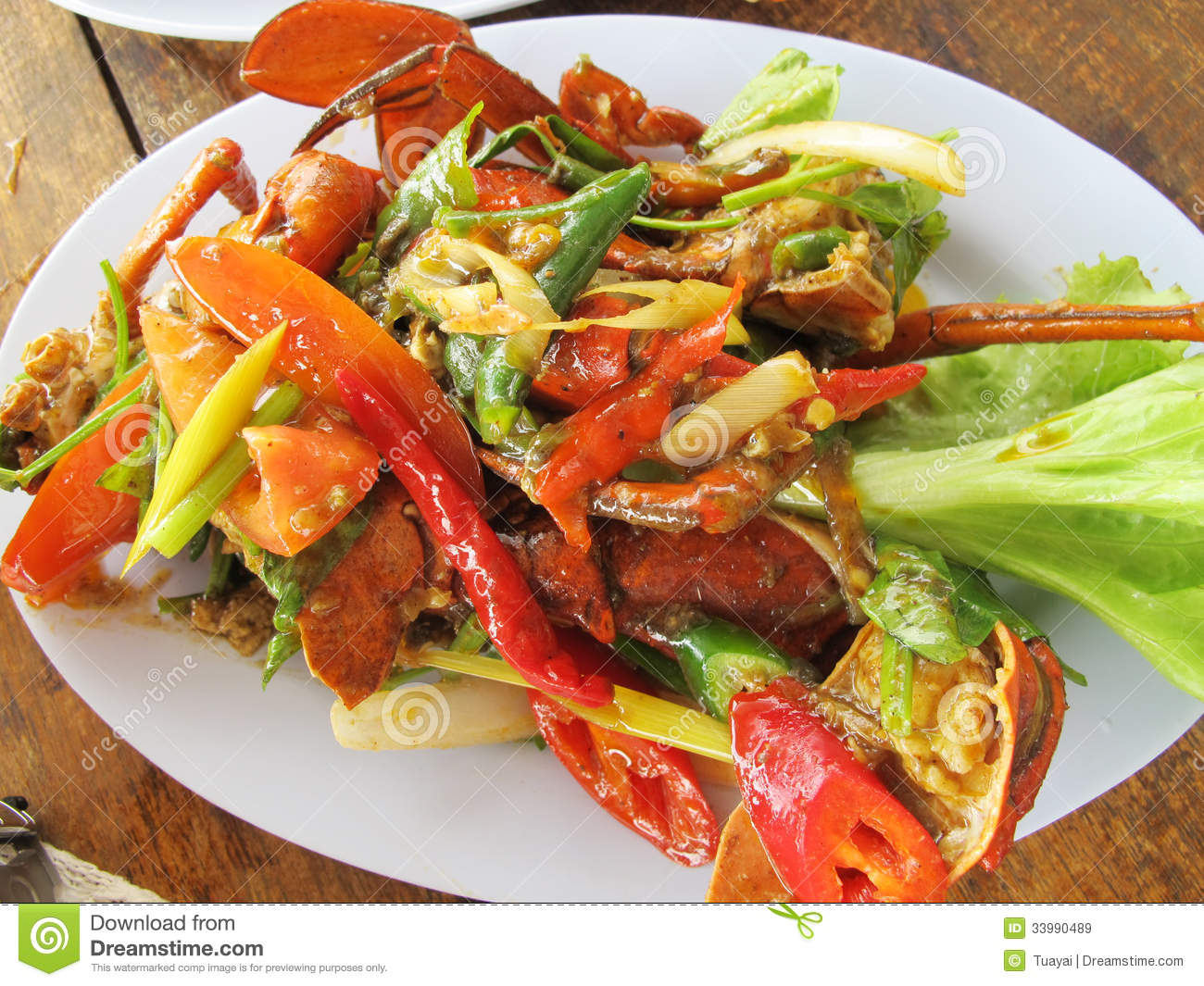 Fried crab in yellow curry stock image image of green for Fish as food