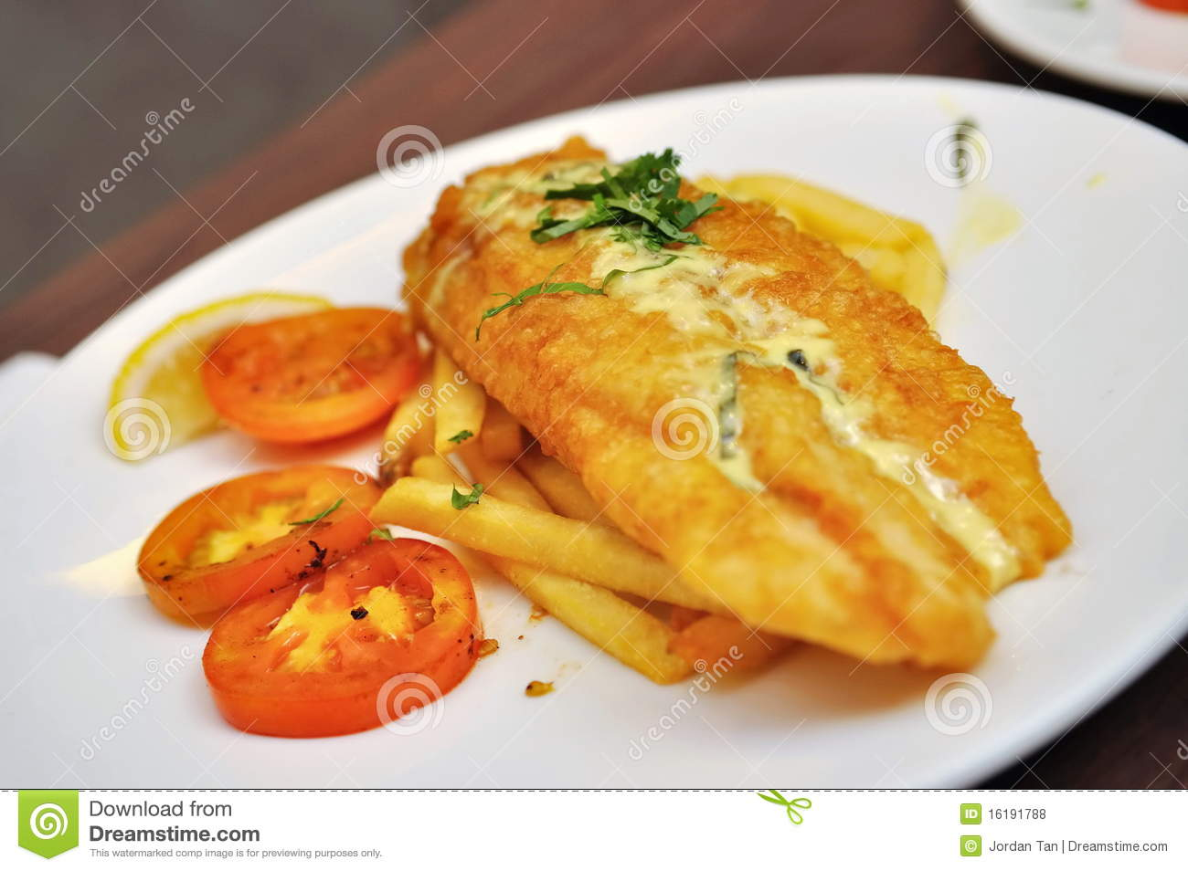 Fried dory fish with fries stock photo. Image of fried ...