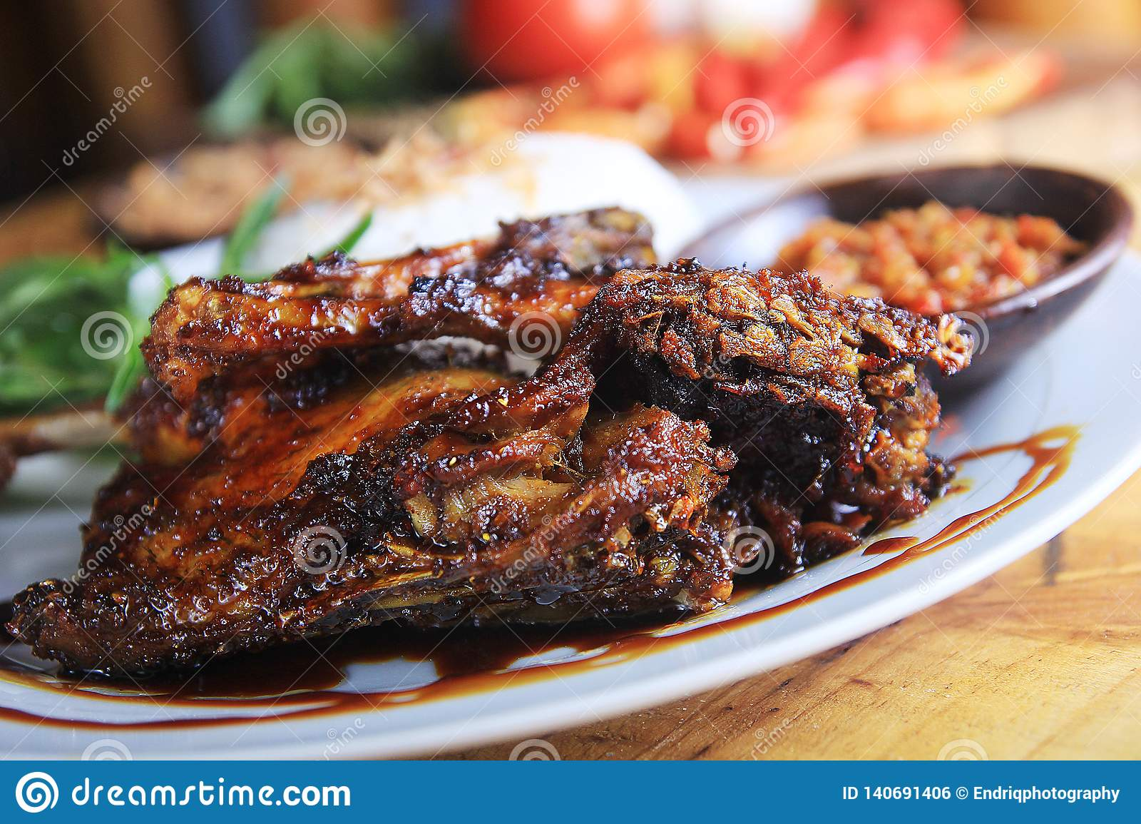 Indonesian Culinary Fried Duck Rice Stock Photo - Image of