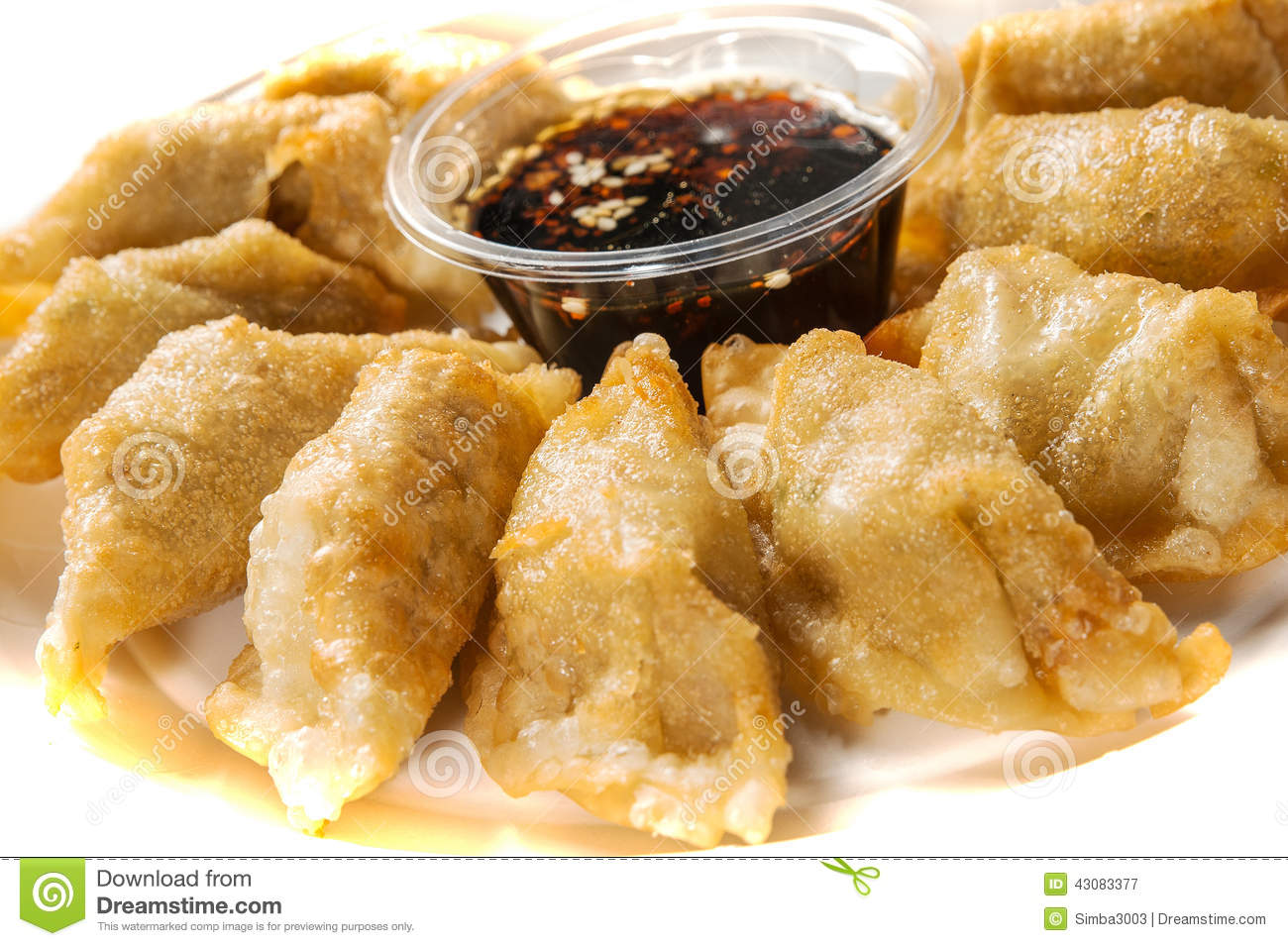 Yaki-Gyoza - Japanese pan-fried dumplings served with a soy based ...