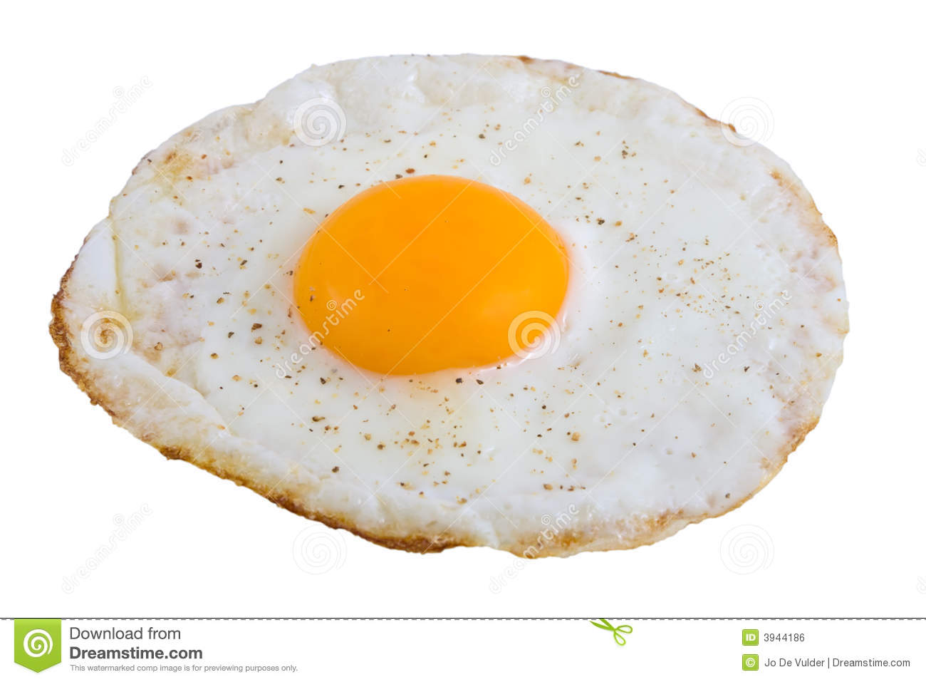 Closeup of Fried Egg isolated over white background.