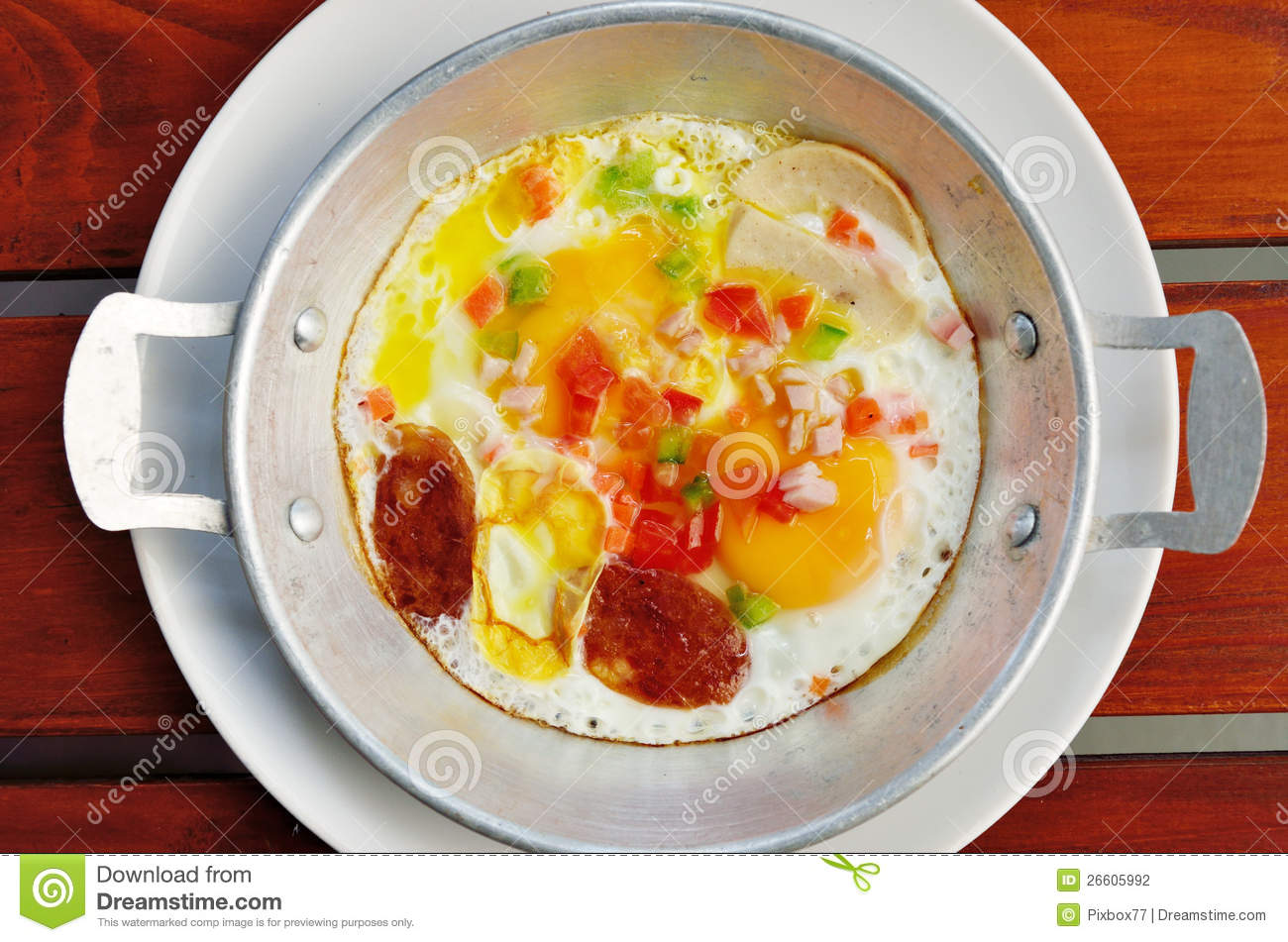 Fried Egg With Chinese Sausage, Breakfast Concept Stock Photography ...
