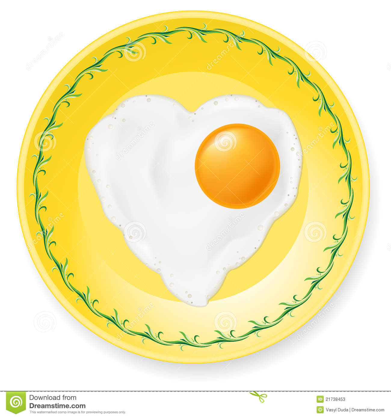 Breakfast With Two Fried Eggs In White Plate Stock Image ...  |Fried Eggs On A Plate