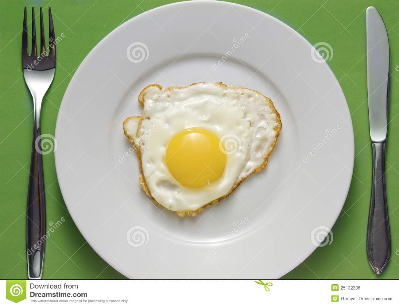 Fried Egg On Plate From Above Stock Photo - Image of ...  |Fried Eggs On A Plate