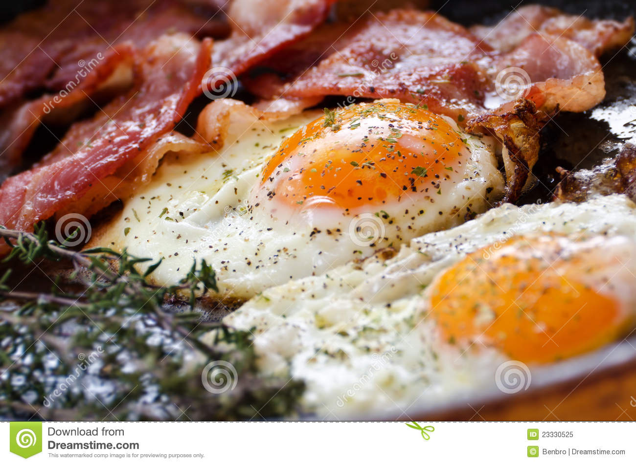 Fried Eggs With Bacon Royalty Free Stock Photo - Image ...