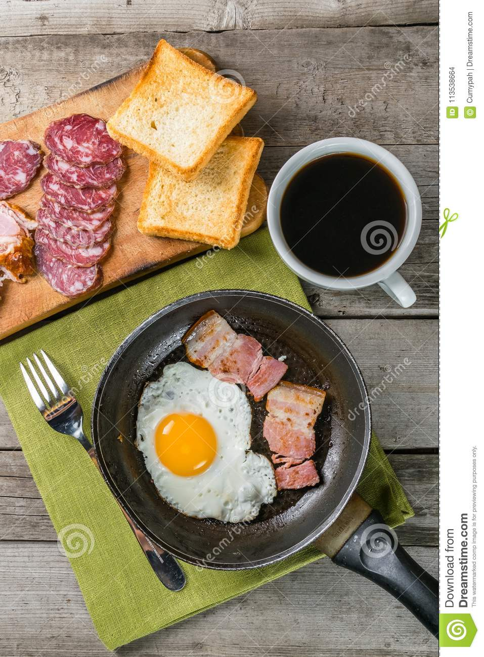 Fried Eggs Bacon And Coffee