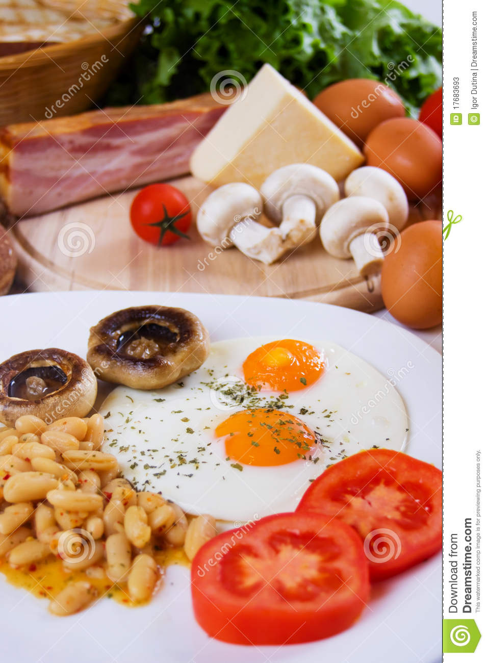 Fried Eggs With Beans And Mushrooms Stock Photos - Image: 17683693