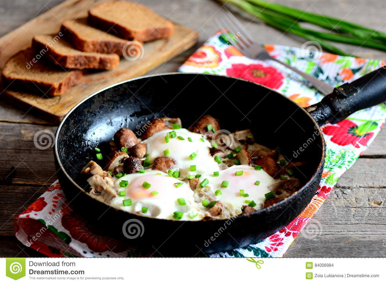Fried Eggs In Pan. Organic Eggs Fried With Mushrooms And ...