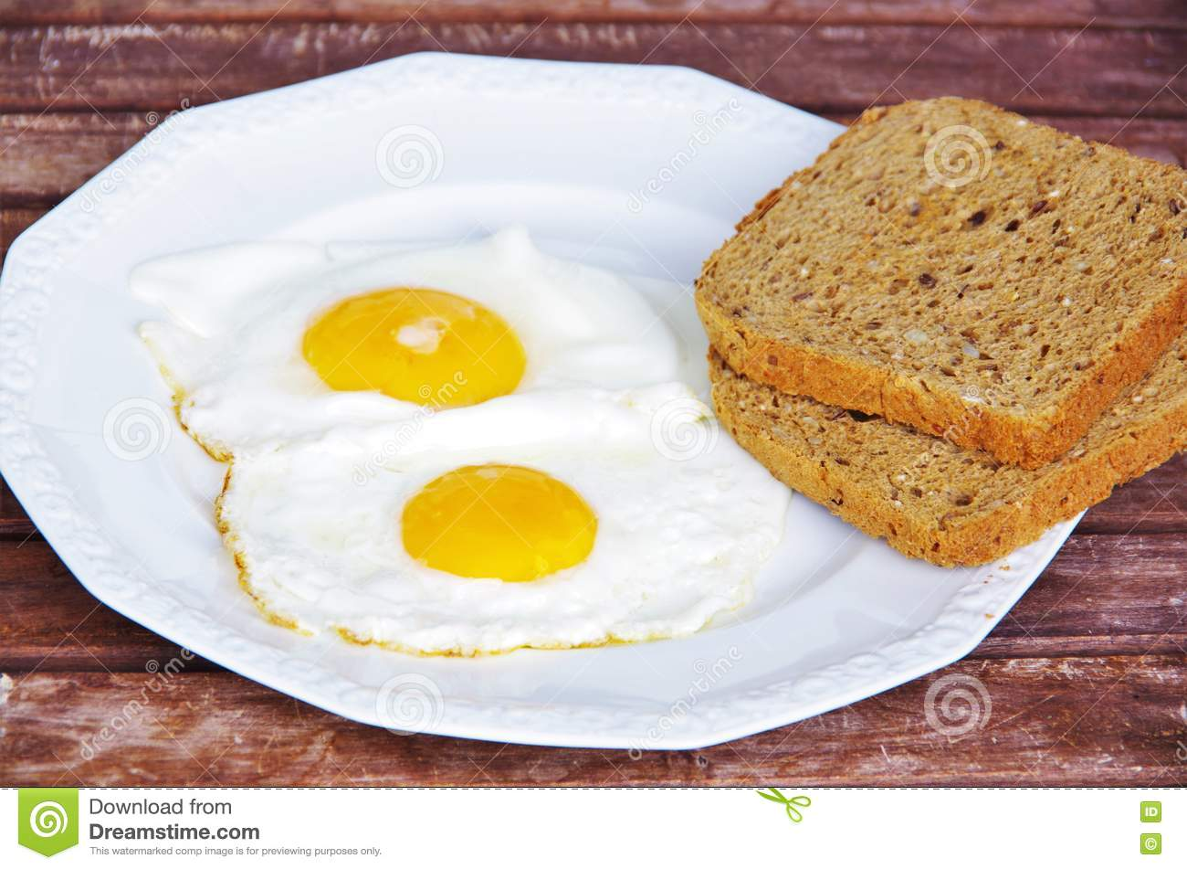Fried egg on plate stock vector. Illustration of meal ...  |Fried Eggs On A Plate