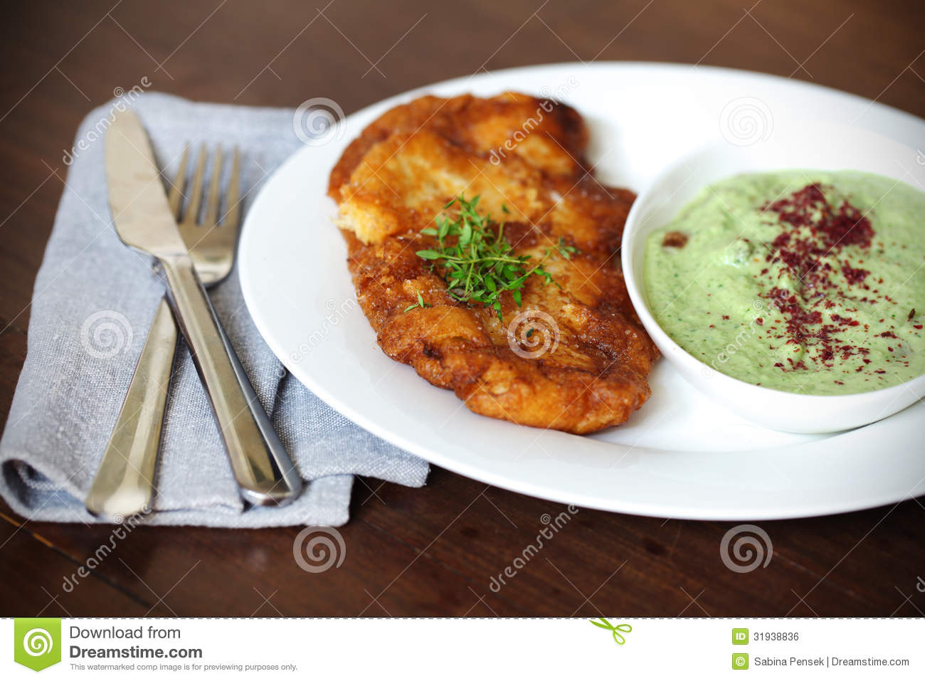 Fried fish in beer batter with cucumber yoghurt dip and for Is fried fish healthy