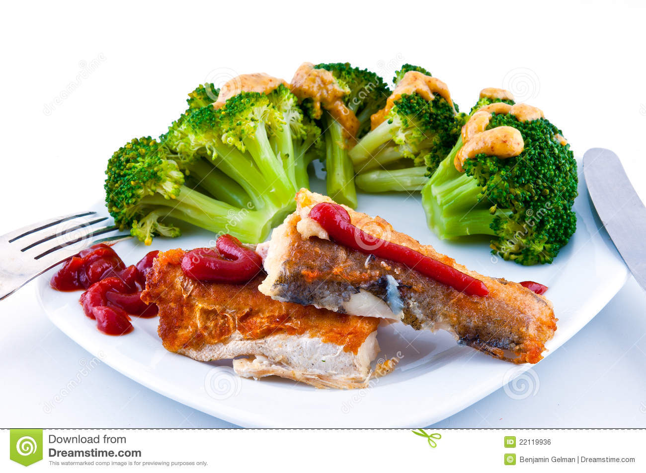 Fried fish and broccoli with mustard royalty free stock for Fried fish sandwich near me