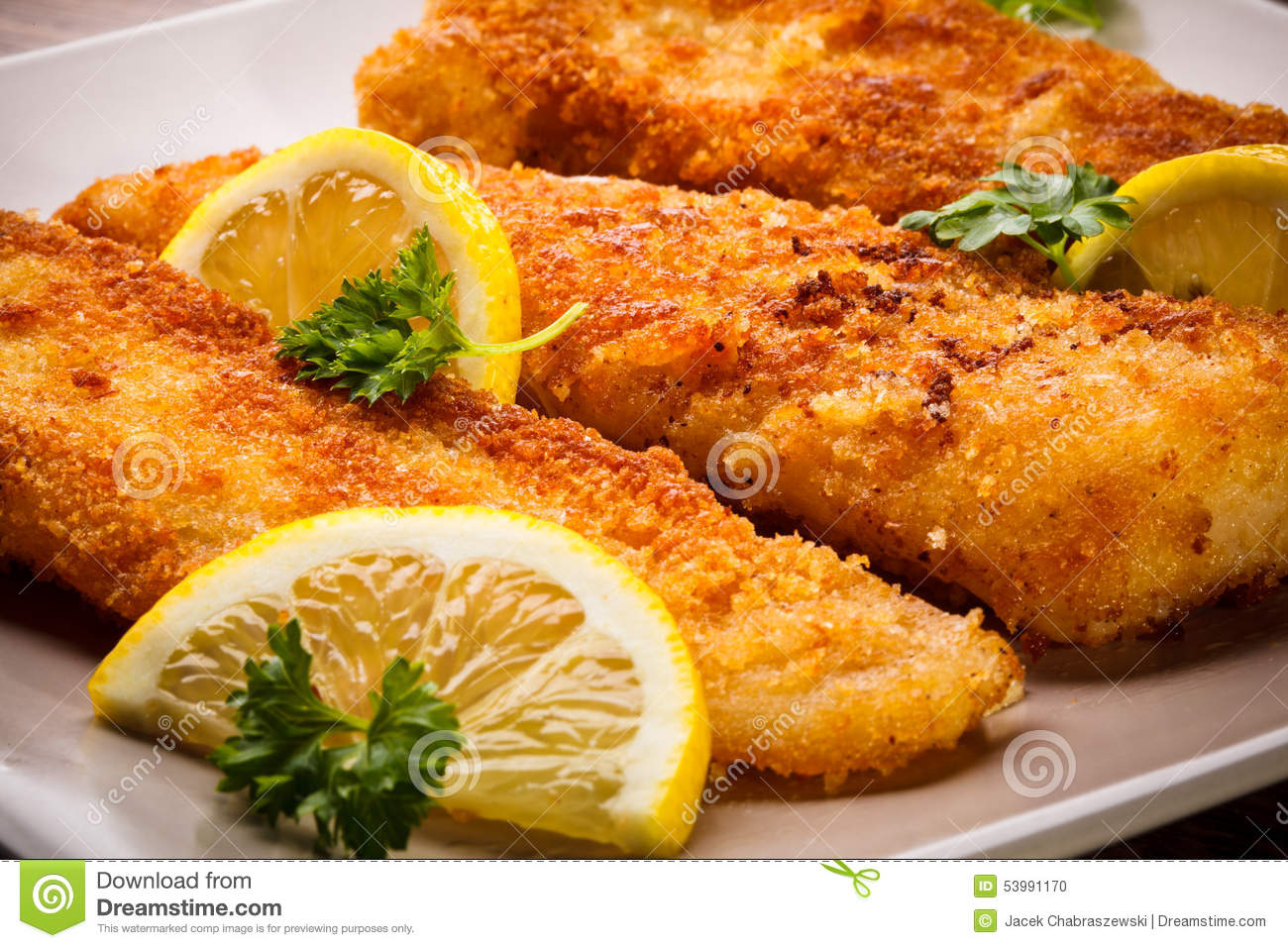 Fried fish fillet stock photo image of orange meal for Frying fish recipes