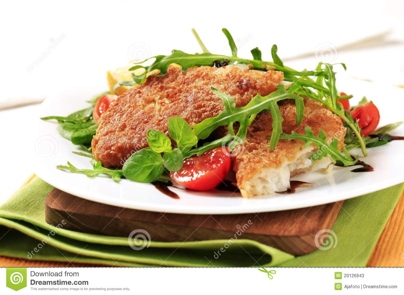 Fried fish and fresh salad stock photos image 20126943 for Fish and salad