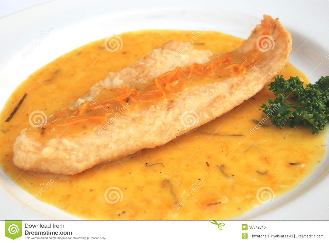 Fried fish orange sauce royalty free stock image image for Sauce for fish