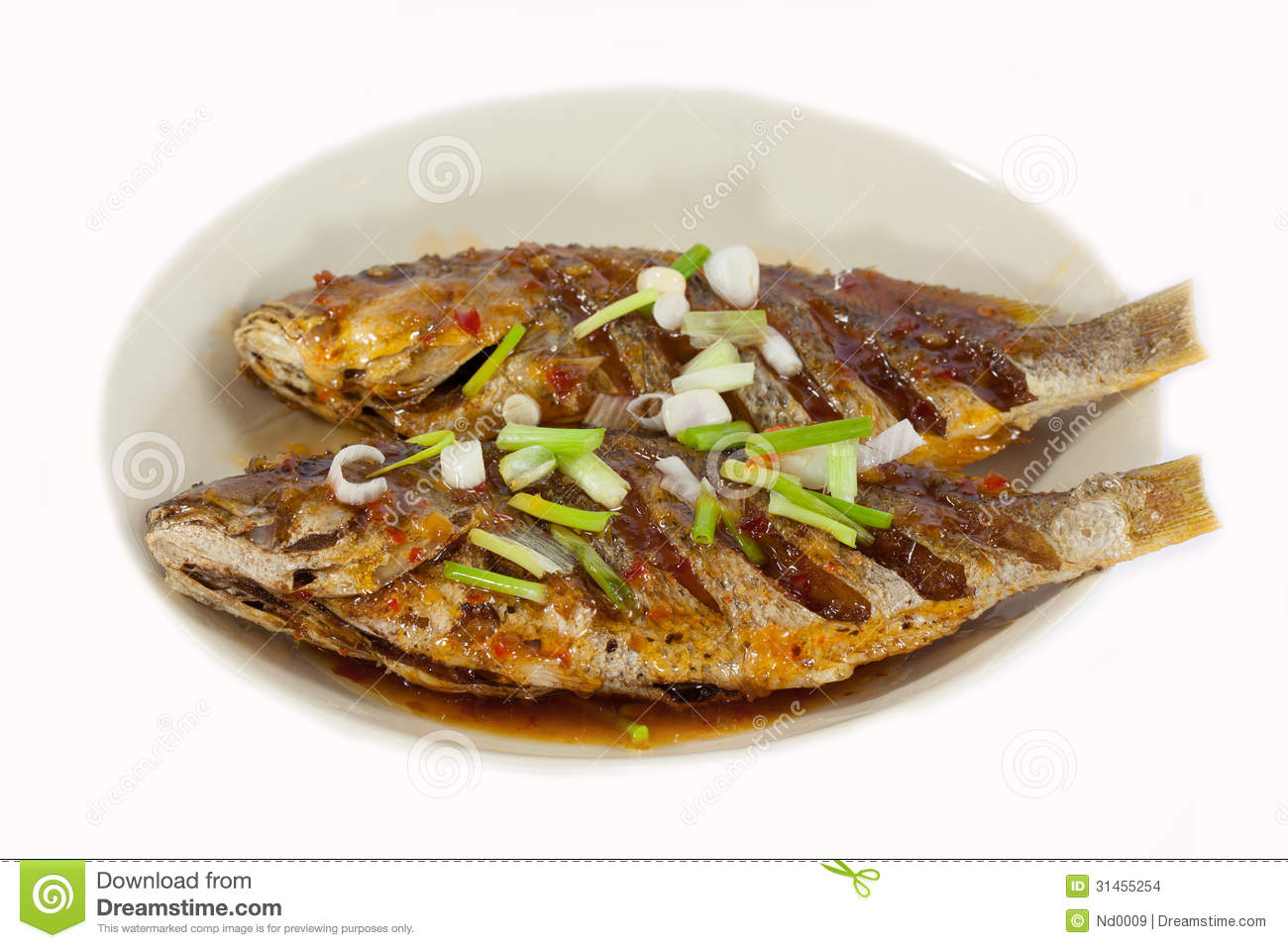 Fried fish on plate isolated on white background stock for Fried fish nutrition
