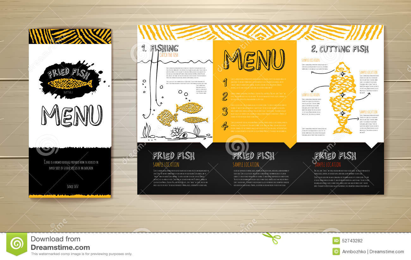 seafood restaurant menu concept design. corporate identity stock