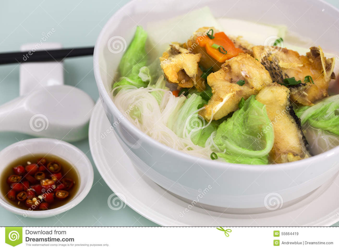 Fried Fish Rice Noodle Soup Stock Image Image Of Chili Diet 55664419