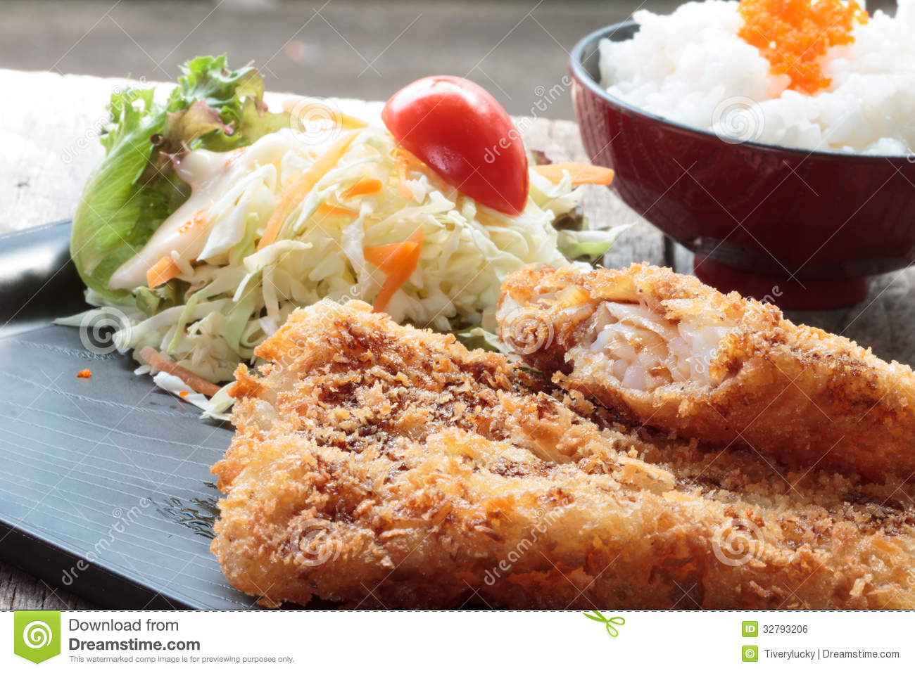 Fried fish and salad royalty free stock image image for Fish and salad