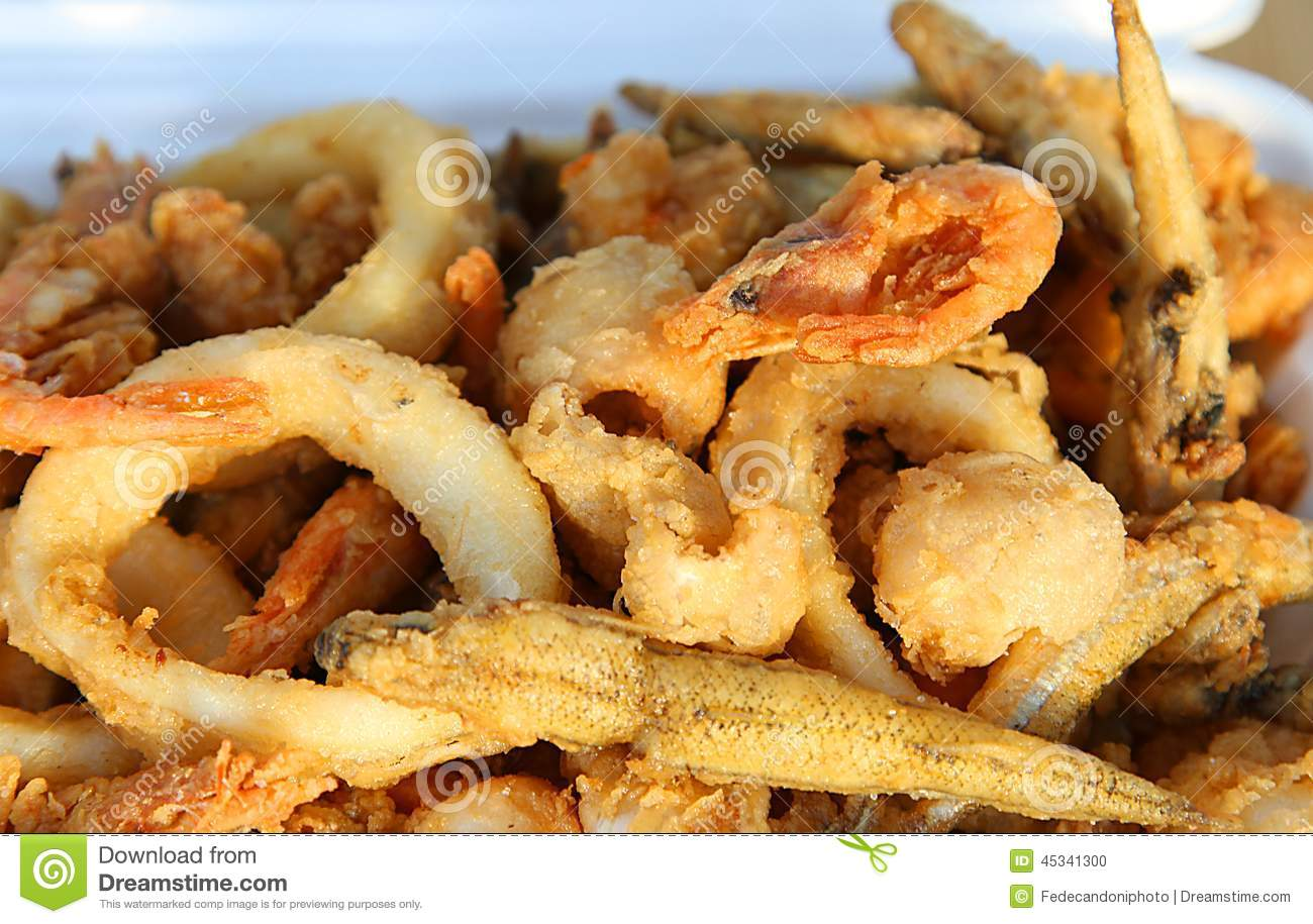 Fried fish with shrimp squid and cuttlefish stock photo for Fried fish and shrimp