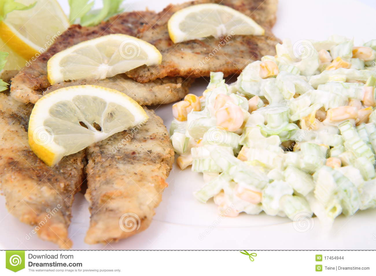 Fried Fish With Side Salad Stock Images Image 17454944