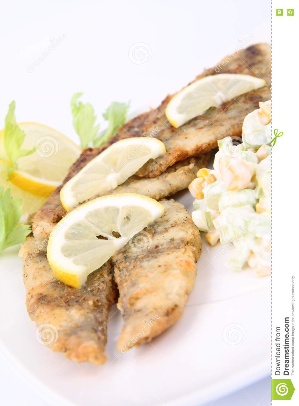 Fried fish with side salad stock photos image 17455143 for Sides for fried fish