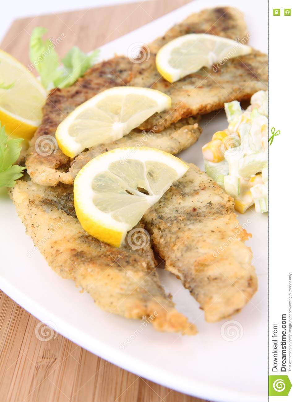 Fried Fish With Side Salad Stock Image Image 17455571