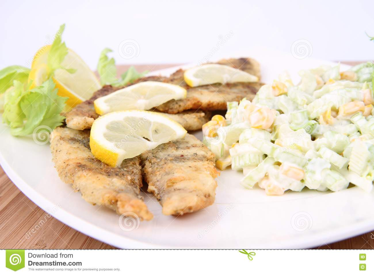 Fried Fish With Side Salad Royalty Free Stock Images