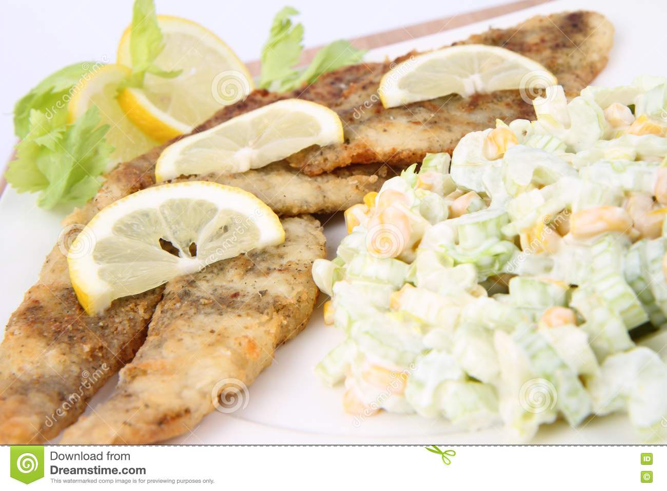 Fried Fish With Side Salad Stock Photography Image 17455812