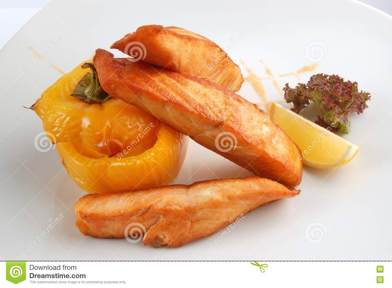 Fried fish with vegetables stock photo image 16403530 for What vegetables go with fish