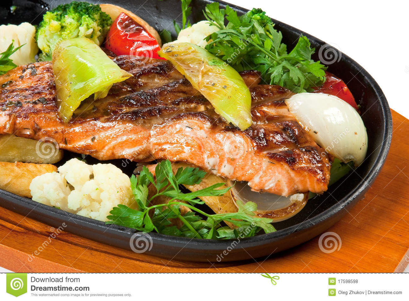 Fried fish with vegetables stock photo image of for Fish with vegetables