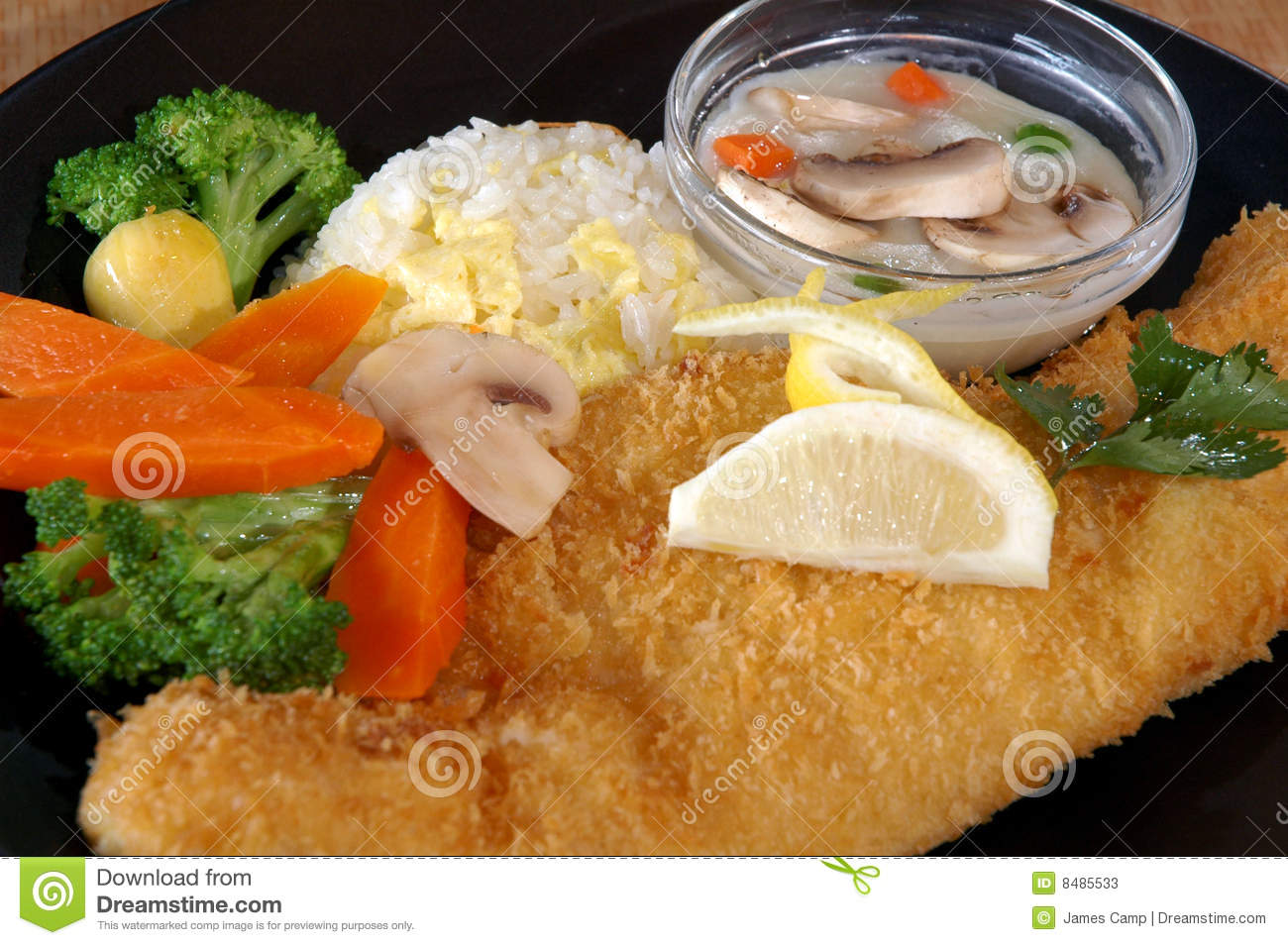 Fried fish with vegetables stock photos image 8485533 for Fish with vegetables
